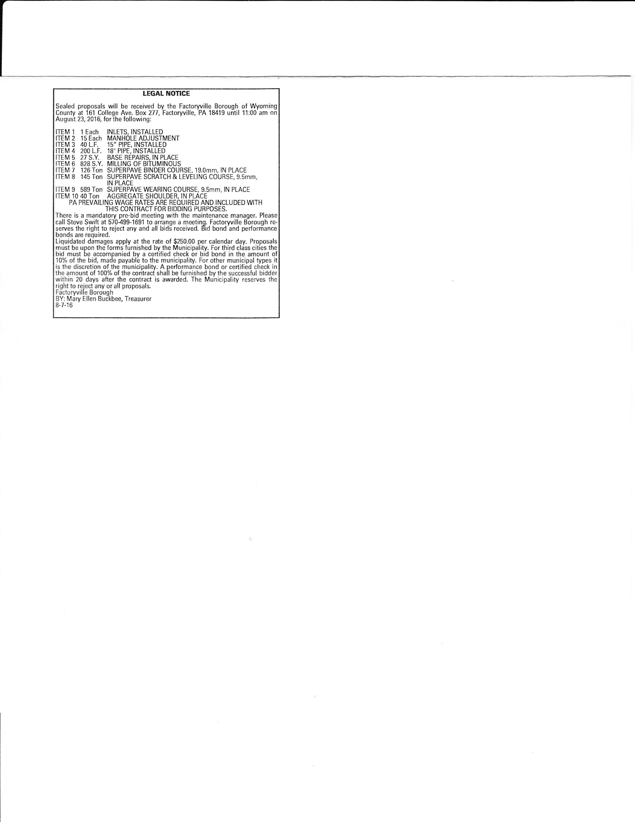 Factoryville Road bid legal ad