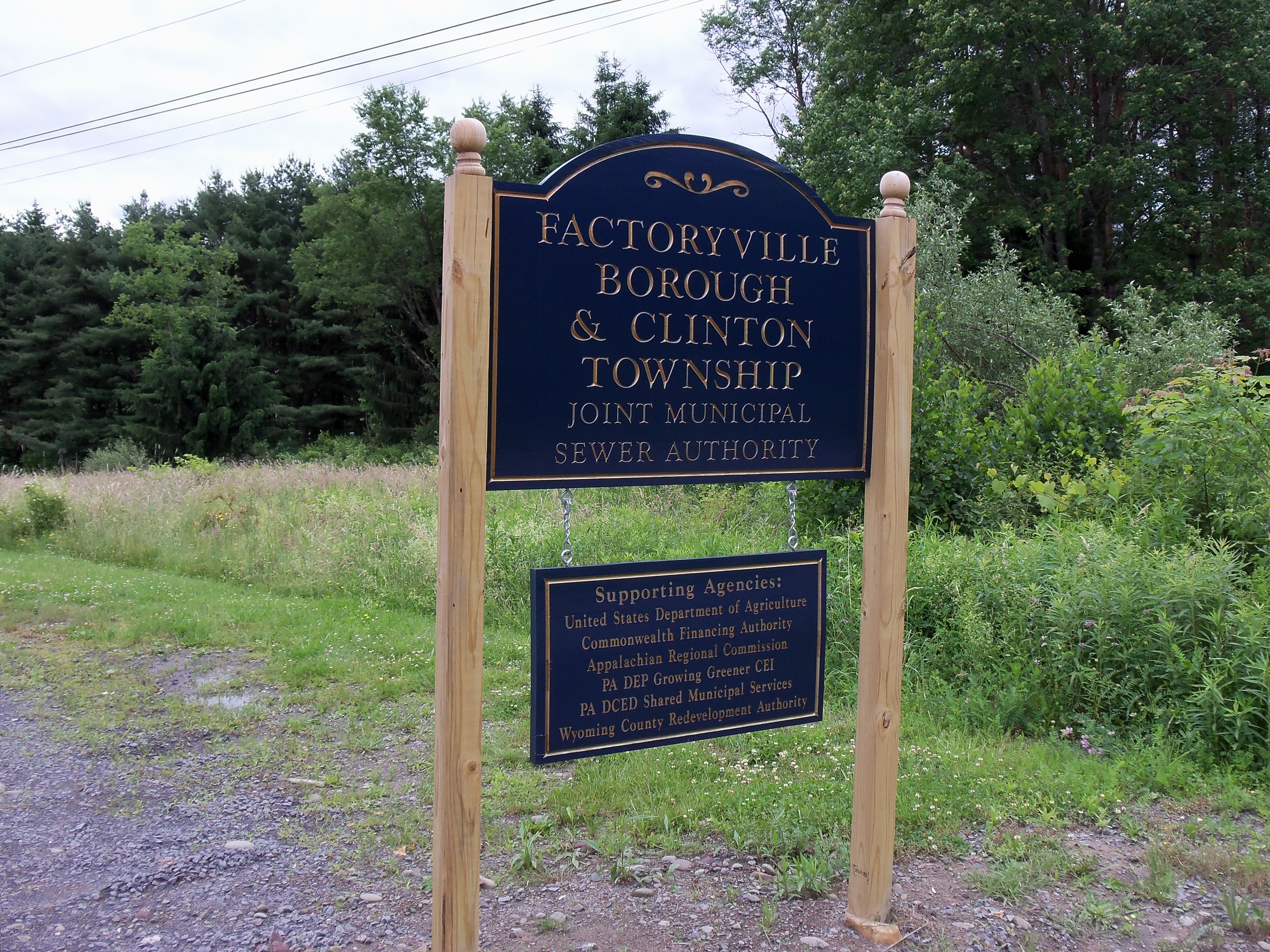 Factoryville Sewer Sign